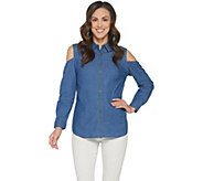Denim & Co. Stretch Denim Cold Shoulder Button Front Top - A307036
