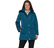 As Is Dennis Basso Water Resistant Coat with Removable Hood - A307436