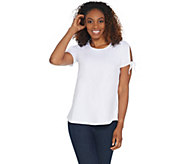 Women with Control Curved Hem T-Shirt w/ Tie Sleeve Detail - A308536