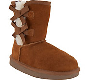 Koolaburra by UGG Kids Suede Bow Short Boots - Victoria - A311236