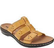 As Is Clarks Leather Triple Strap Slides- Leisa Spring - A345636