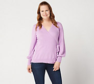 Isaac Mizrahi Live! Long Bishop Sleeve Faux Wrap Ballet Sweater - A349936