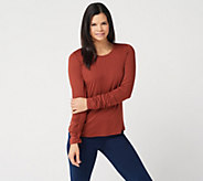 G.I.L.I. Peached Knit Ruched Long Sleeve T-Shirt - A350336