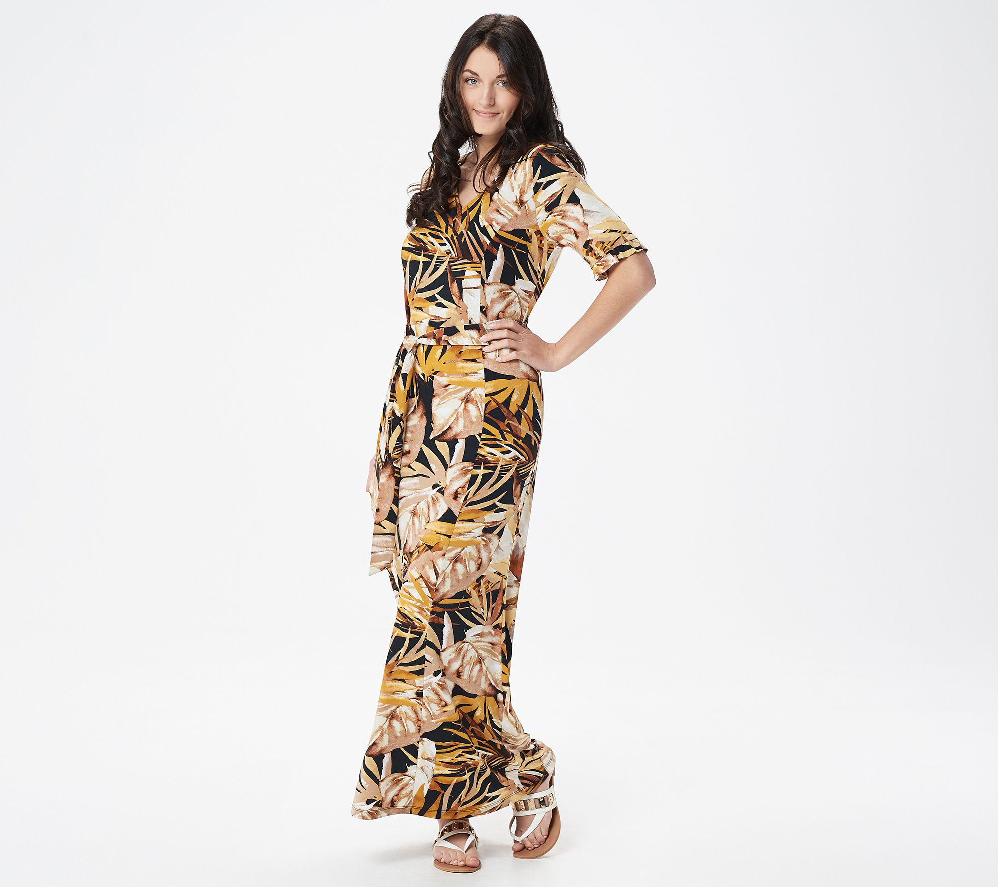502c47c1a1 Susan Graver Petite Printed Liquid Knit Maxi Dress with Belt - Page 1 —  QVC.com