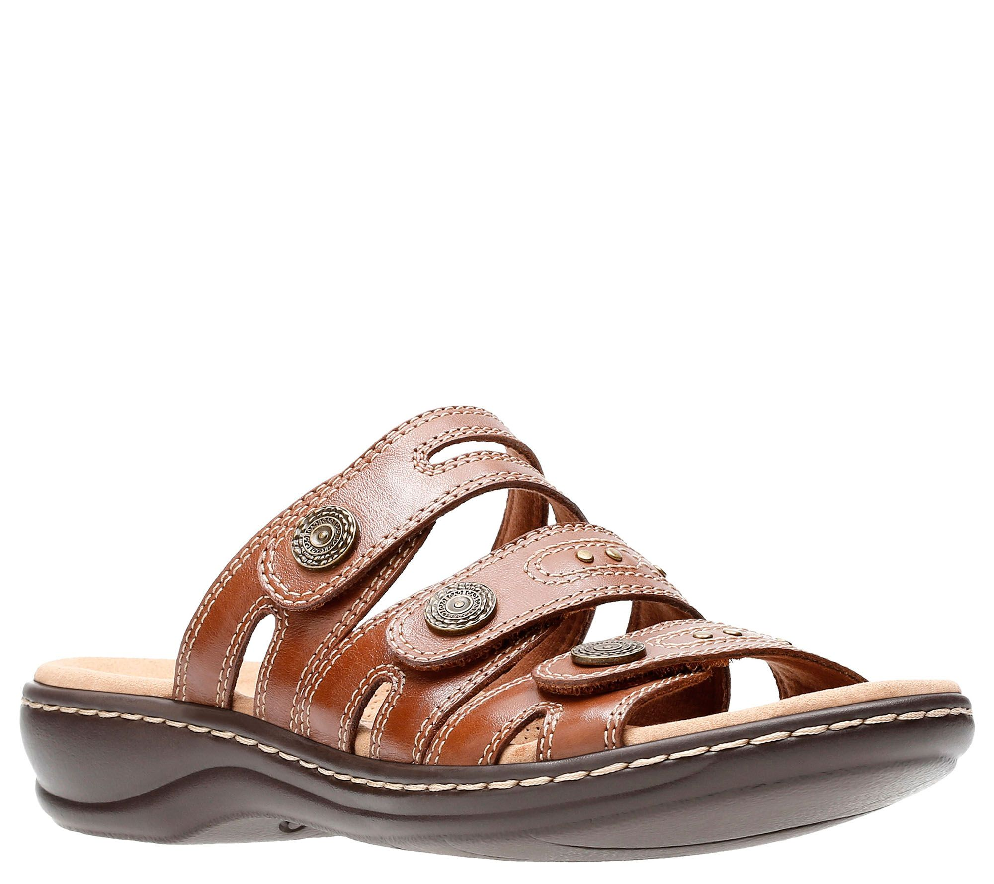 ecf4844e8eb Clarks Leather Lightweight Triple Strap Slides- Leisa Lakia - Page 1 —  QVC.com