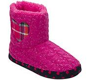 Dearfoams Kids Sweater Knit Bootie Slippers with Heart - A417436