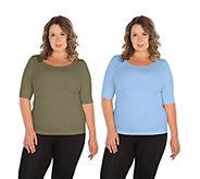 skinnytees Plus Elbow-Sleeve Crew-Neck Set of 2T-Shirts - A422436