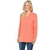 Susan Graver Woven Y-Neck Long Sleeve Tunic with High-Low Hem - A261937