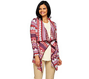 Liz Claiborne New York Jacquard Open Front Cardigan - A271237