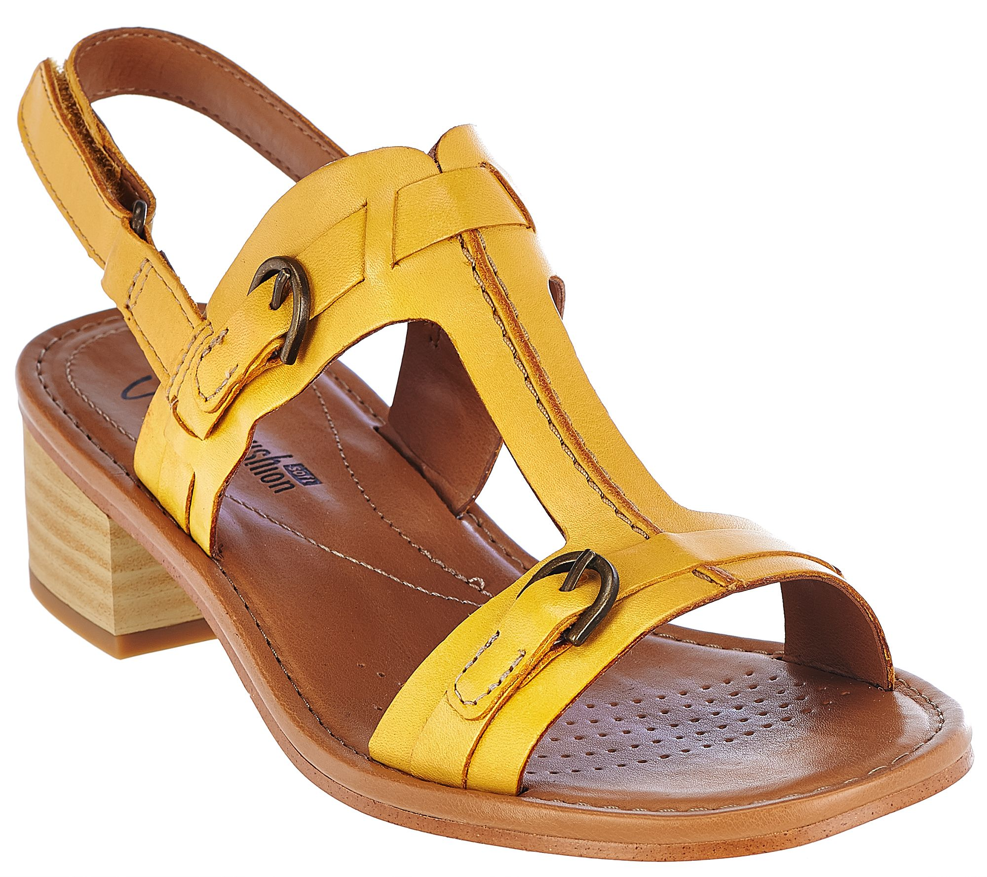 Clarks Leather Block Heel T-Strap Adj. Sandals - Reida Madalyn - Page 1 —  QVC.com
