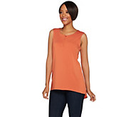 H by Halston V-Neck Button Front Tank - A277937
