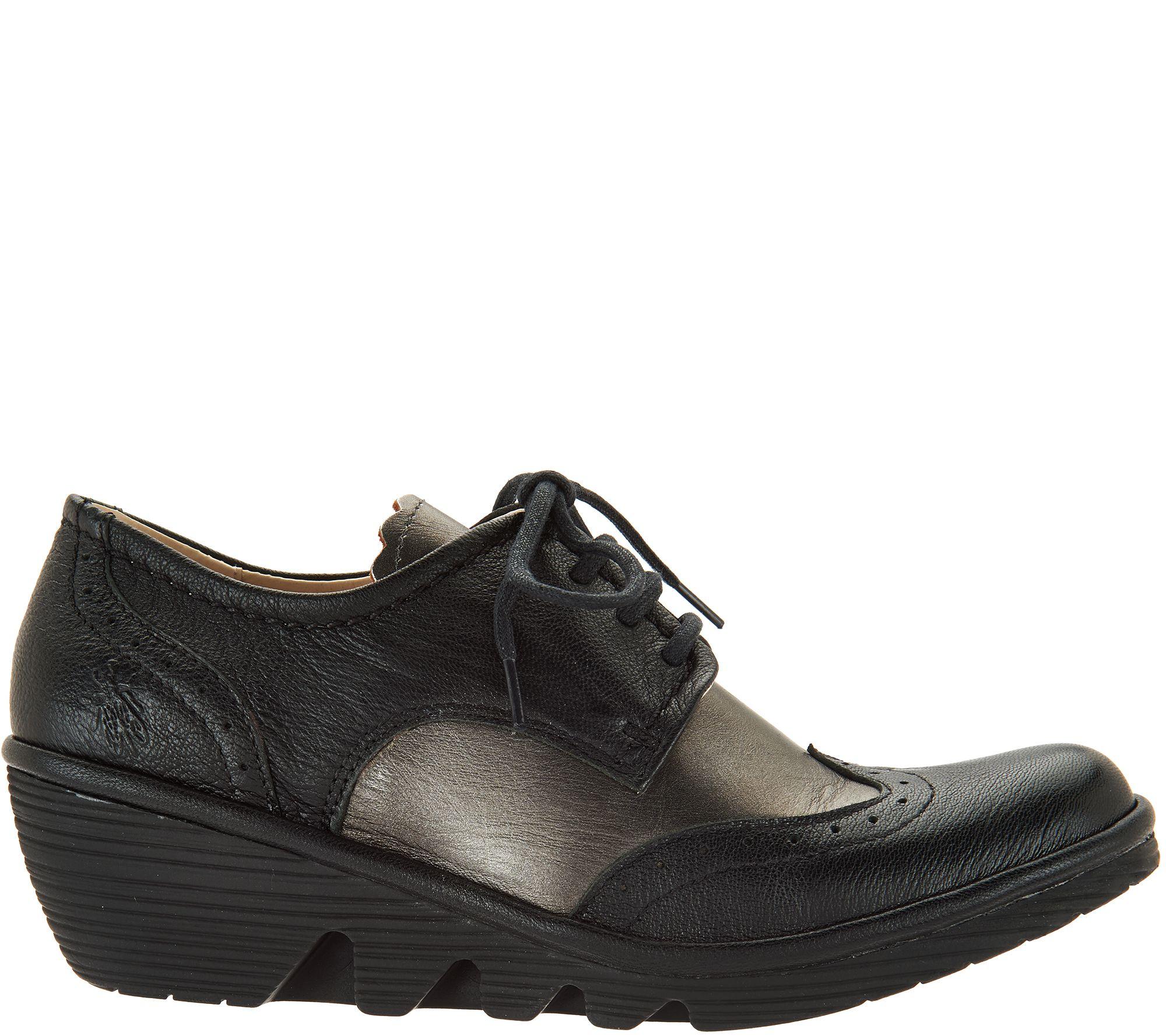5d90ce7f580e FLY London Leather Wedge Lace-up Shoes - Palt - Page 1 — QVC.com