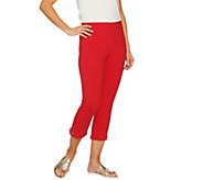 Susan Graver Weekend Cotton Spandex Capri Leggings w/ Grommets - A289437