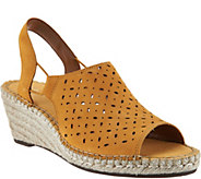 As Is Clarks Artisan Leather Espadrille Wedge Sandals - Petrina Gail - A298337