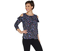 Susan Graver Printed Liquid Knit Cold Shoulder Top with Ruffles - A301137