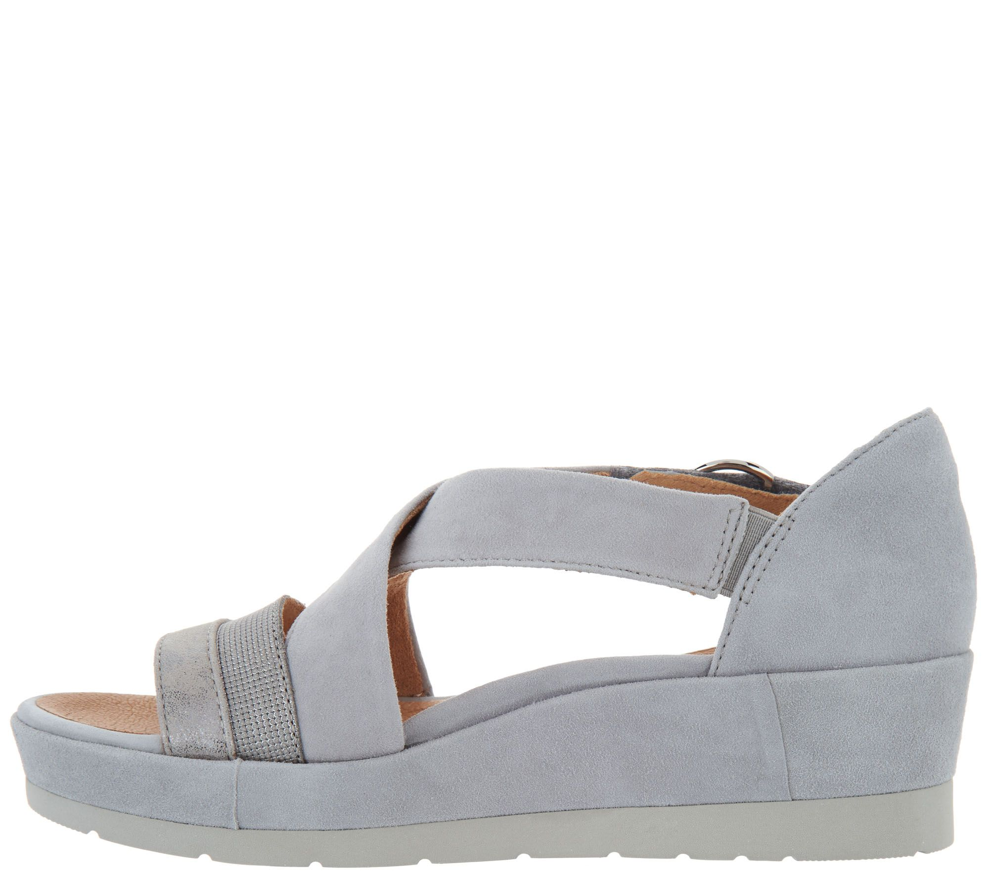 c29039f45d Earth Leather and Suede Cross Strap Wedges - Hibiscus - Page 1 — QVC.com