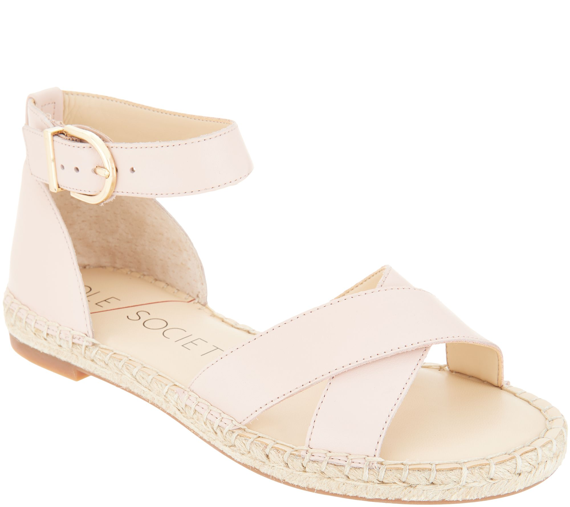 b2f75ed00732 Sole Society Leather Ankle Strap Espadrille Sandals-Saundra - Page 1 —  QVC.com
