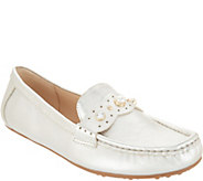 Isaac Mizrahi Live! Leather Moccasins with Faux Pearls - A307737