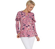 Studio by Denim & Co. Printed Long-Sleeve Pullover Top w/ Ruffle Detail - A309437