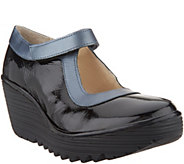 FLY London Leather Mary Jane Wedges - Yert - A342537