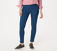 Martha Stewart Petite Knit Denim Ankle Jeans with Zipper Detail - A351437