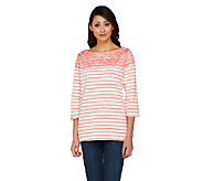 Denim & Co. Striped 3/4 Sleeve Top with Lace Yoke Detail - A262538