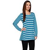 LOGO by Lori Goldstein Long Sleeve Sweater Knit Striped Top - A273338