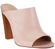 H by Halston Open-Toe Leather Mules w/ Stacked Heel - Kendra - A273938