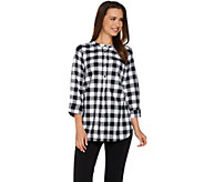 Joan Rivers Buffalo Check Tunic with 3/4 Sleeves - A275338