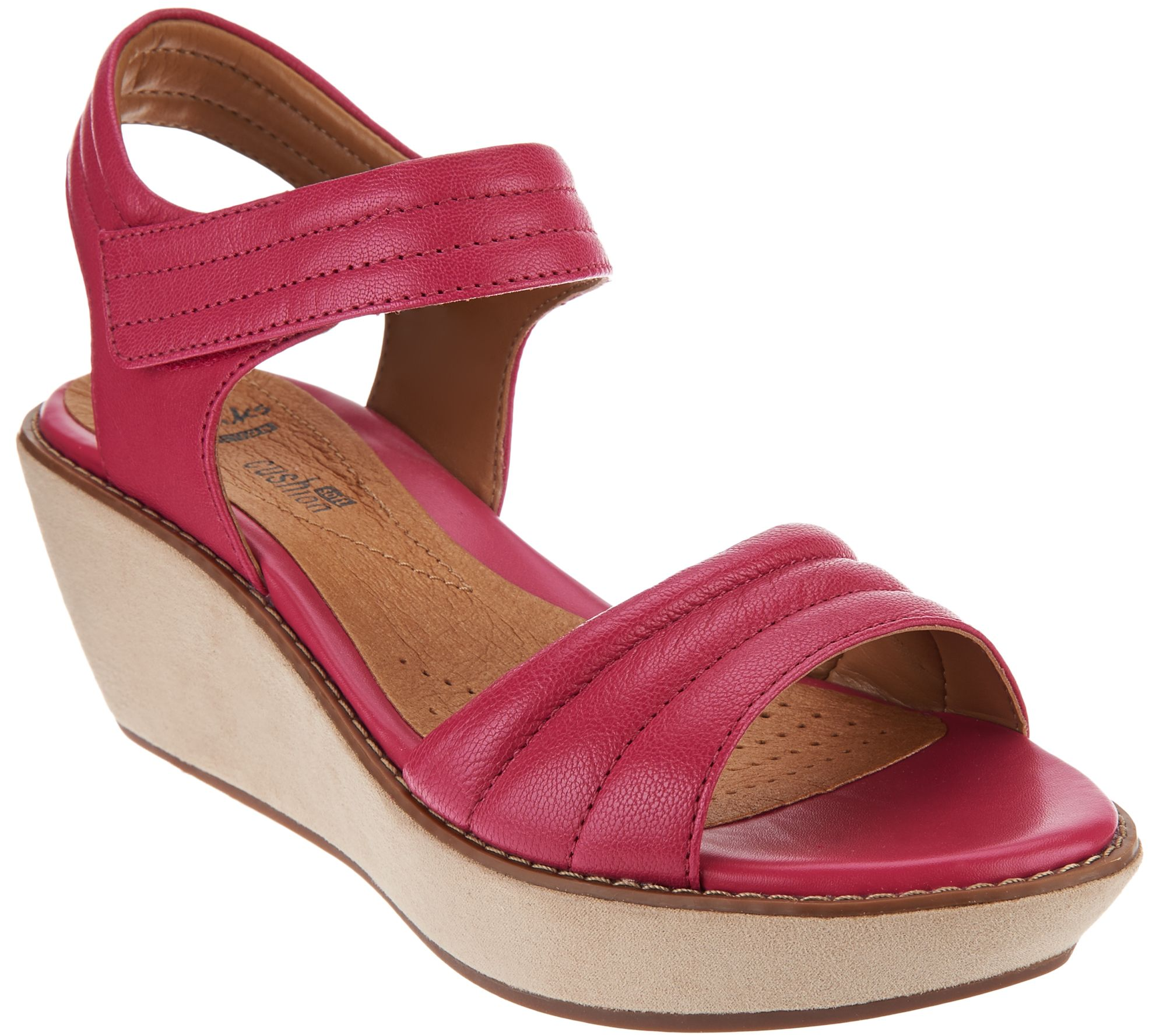 b1f04883d598 Clarks Leather Quilted Strap Wedge Sandals - Hazelle Alba - Page 1 — QVC.com