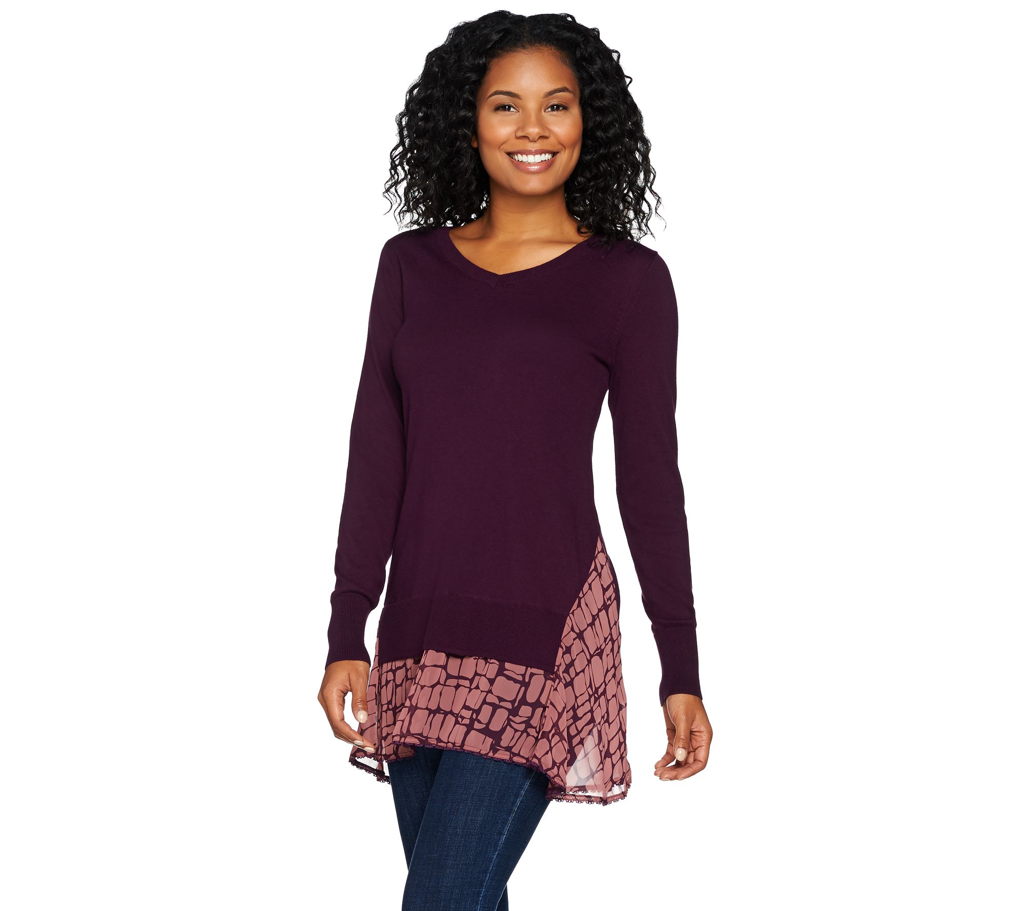 LOGO by Lori Goldstein Cotton Cashmere Sweater w  Lace and Chiffon Hem -  Page 1 — QVC.com d4fbaeee8