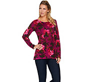Isaac Mizrahi Live! Floral Printed Peplum Pullover Sweater - A284338