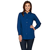 Joan Rivers Boyfriend Shirt with Curved Back Seam - A284438