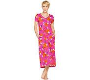 Stan Herman Petite Vibrant Gardens Cotton Hi-Lo Lounge Dress - A287238
