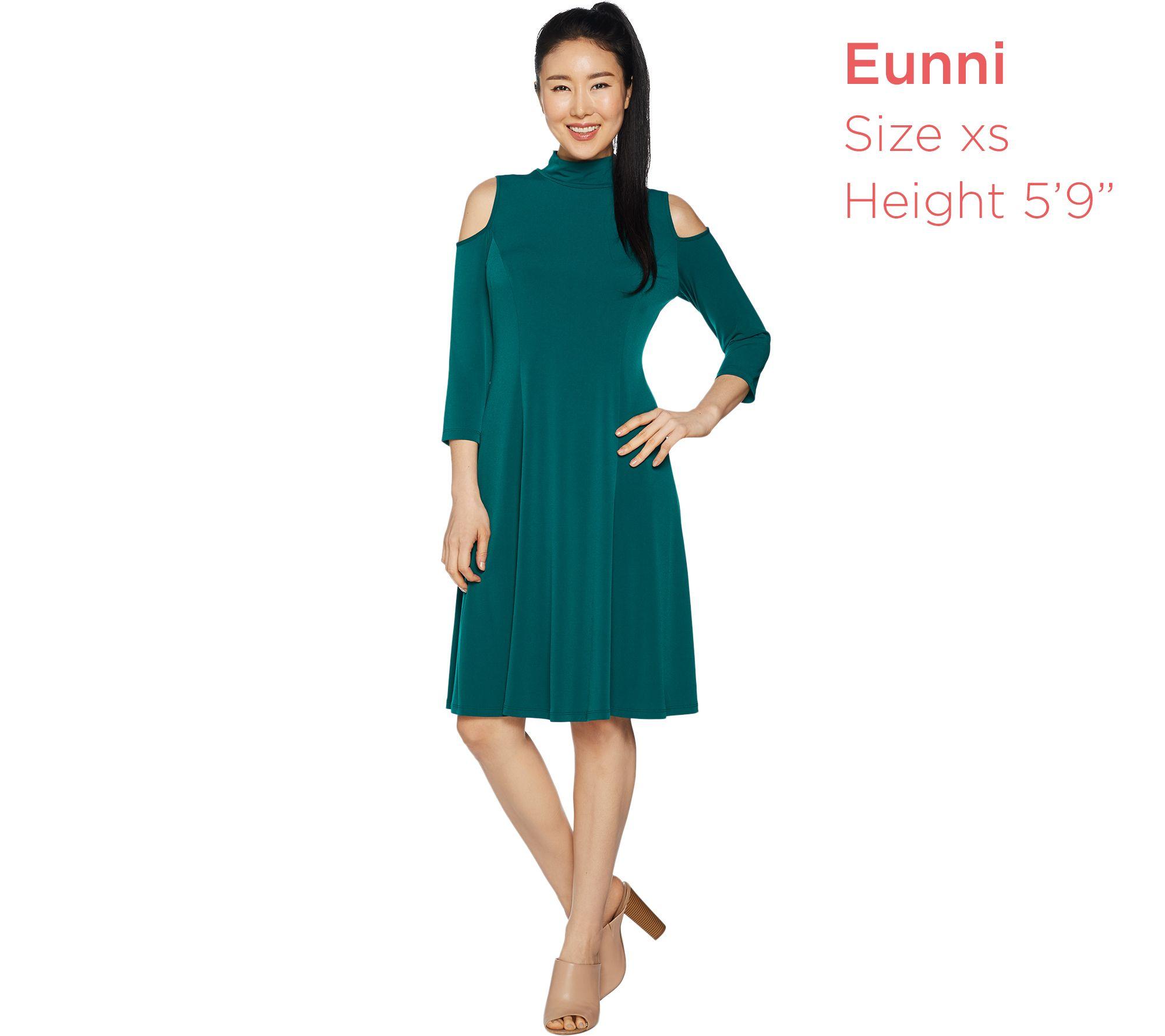 7d39570693 Susan Graver Liquid Knit 3 4 Sleeve Cold Shoulder Dress - Page 1 ...