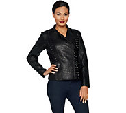 H by Halston Lamb Leather Studded Motorcycle Jacket - A295238