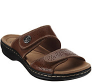 As Is Clarks Leather Double Adjust Slide Sandals - Leisa Lacole - A298338
