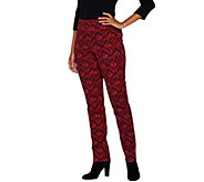 Isaac Mizrahi Live! Petite 24/7 Stretch Scroll Damask Print Pants - A299838