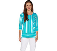 Susan Graver Printed Liquid Knit 3/4 Sleeve Tunic - A301138