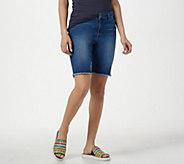 LOGO by Lori Goldstein Bermuda Jean Shorts w/ Frayed Hem - A301238