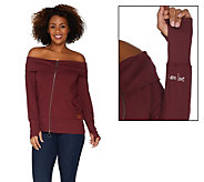 Peace Love World French Terry Off the Shoulder Bomber - A301638