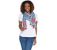 Joan Rivers Red Carpet Gingham Scarf with Tassels and Embroidery - A303938