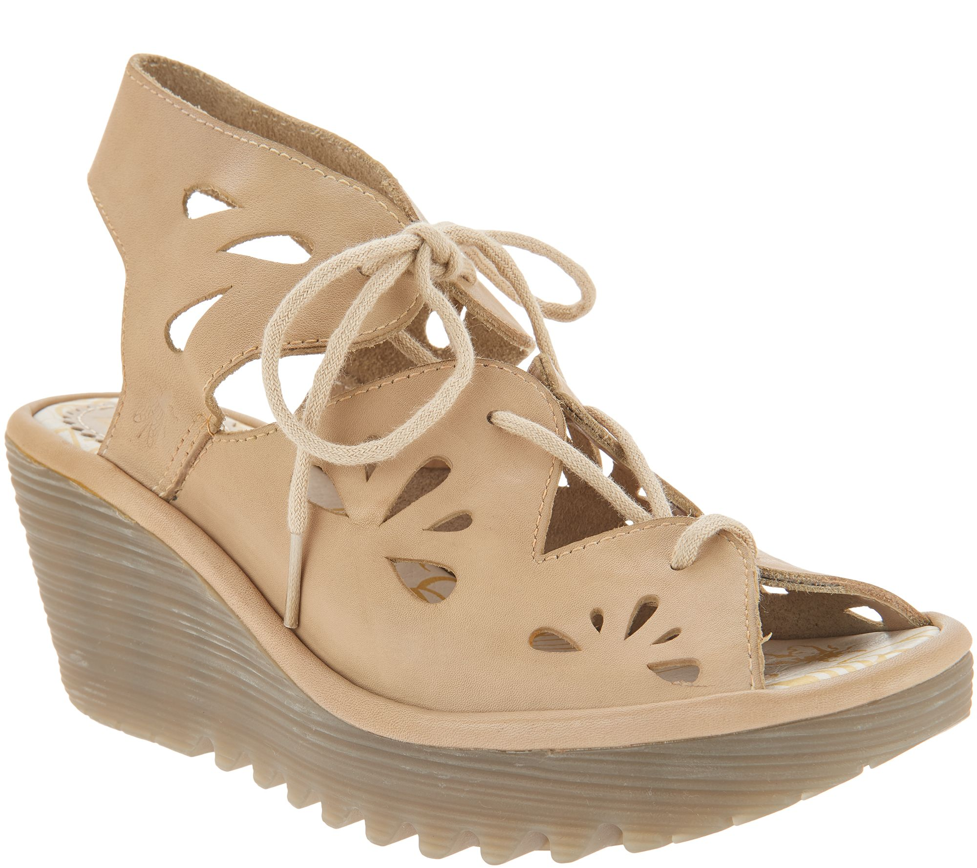7ea0d81974a FLY London Leather Lace Up Wedges - Yote - Page 1 — QVC.com