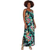 Susan Graver Petite Printed Liquid Knit Maxi Dress - A306538