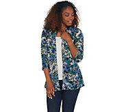 Denim & Co. Printed Brushed Heavenly Jersey 3/4-Sleeve Peplum Cardigan - A309538