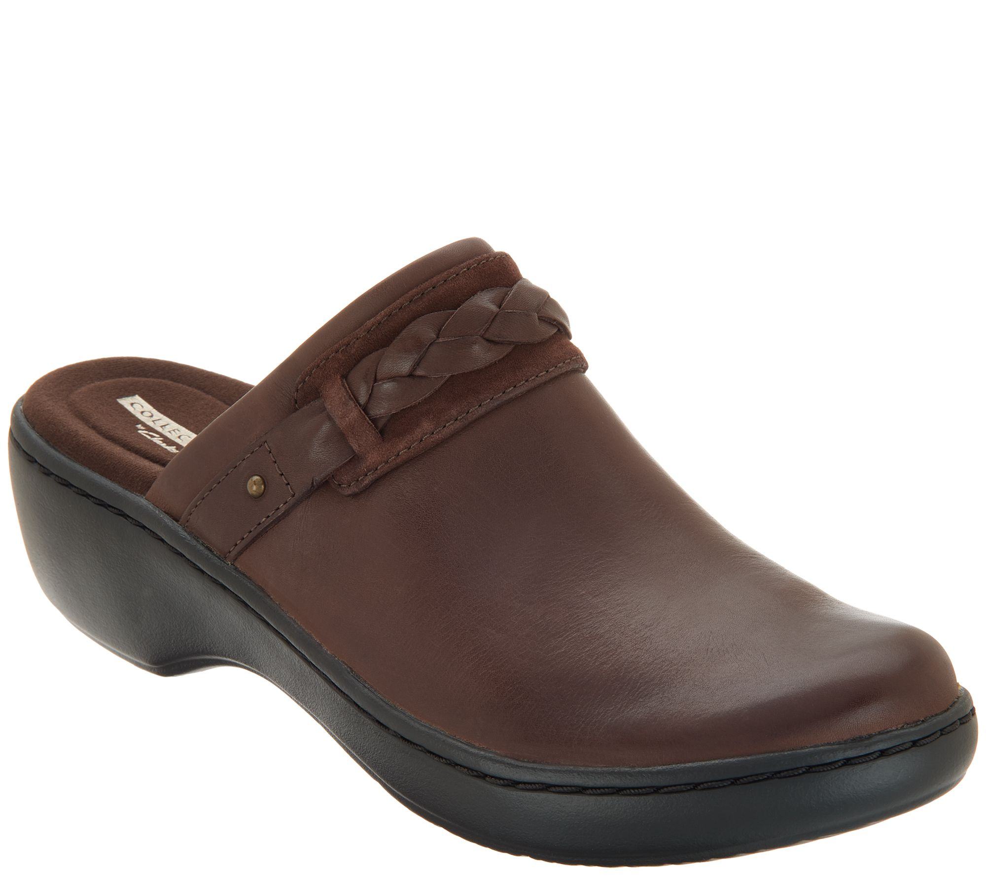 cdc6df441a863 Clarks Collection Leather Slip-on Clogs - Delana Abbey — QVC.com