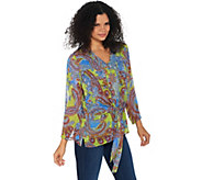 Belle by Kim Gravel Paisley Tie Front Blouse and Tank - A347138