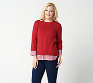 Joan Rivers 3/4-Sleeve Gingham Peekaboo Sweater - A349338