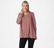 LOGO Lavish by Lori Goldstein Button Front Top with Woven Placket - A349638