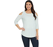 As Is Isaac Mizrahi Live! SOHO 3/4 Sleeve Cold Shoulder Tunic - A349938